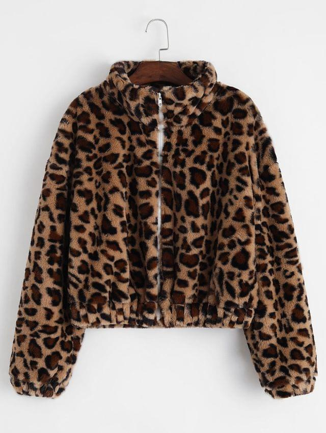 WOMEN Zip Front Leopard Fluffy Faux Fur Coat - Leopard M