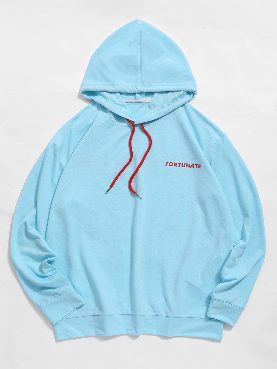 Men's Letter Printed Drawstring Casual Hoodie - Day Sky Blue S