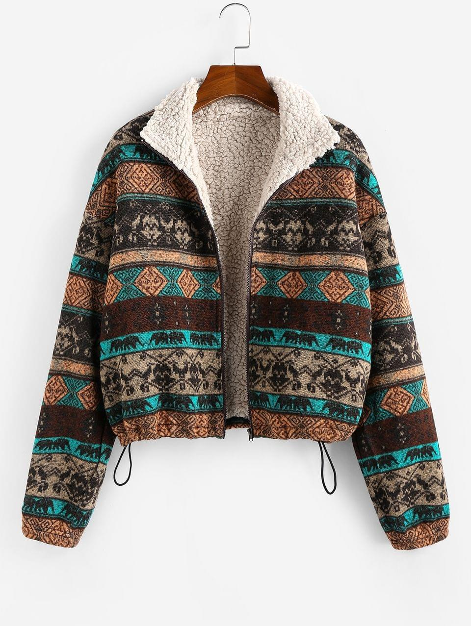 Women's Tribal Print Faux Fur Lined Jacket - Multi Xl