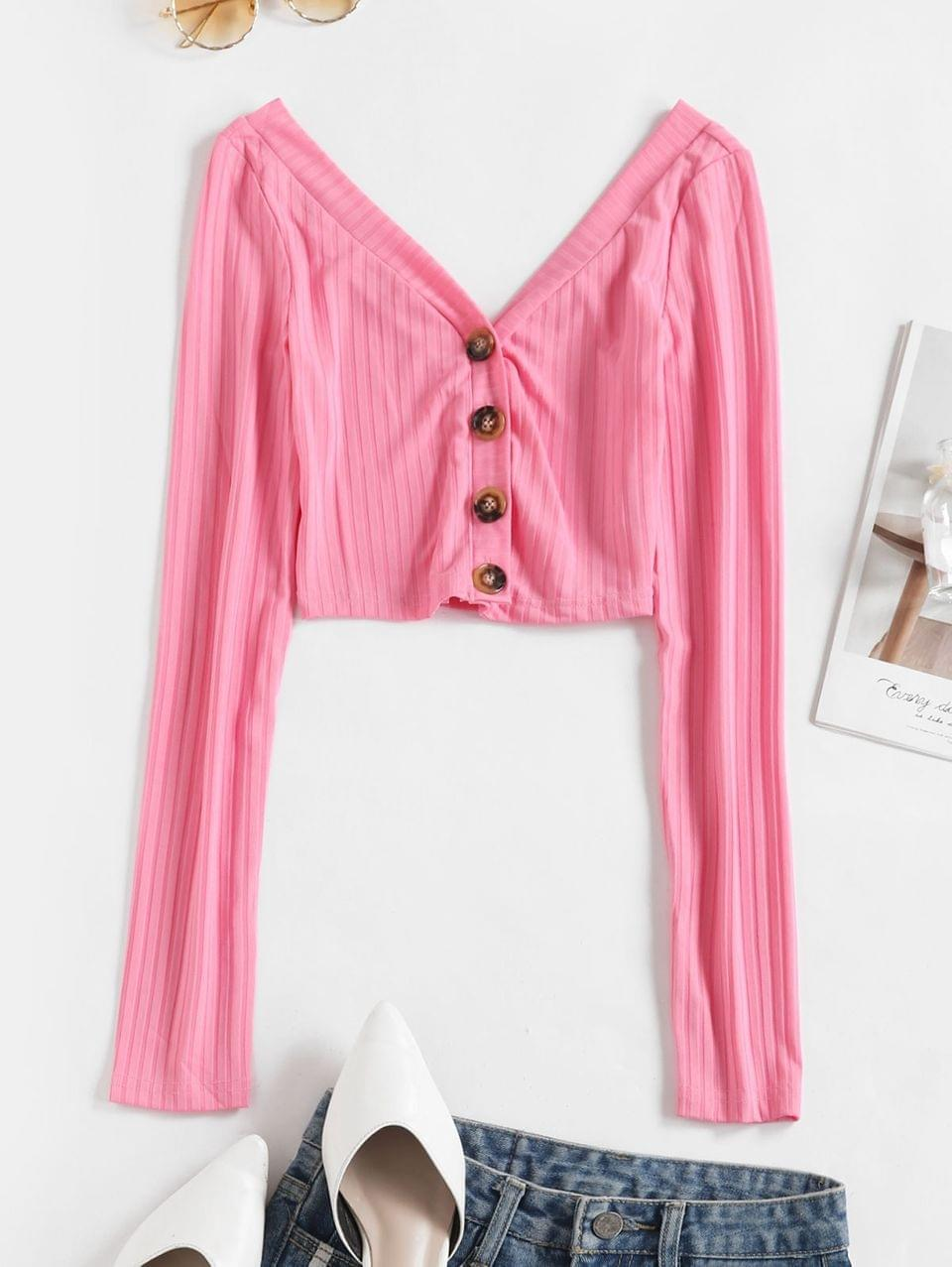 Women's Plunging Button Up Crop T-shirt - Rose Red M