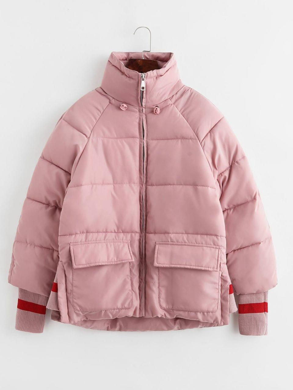 Women's Quilted Raglan Sleeve Pocket Ribbed Cuffs Coat - Pink L