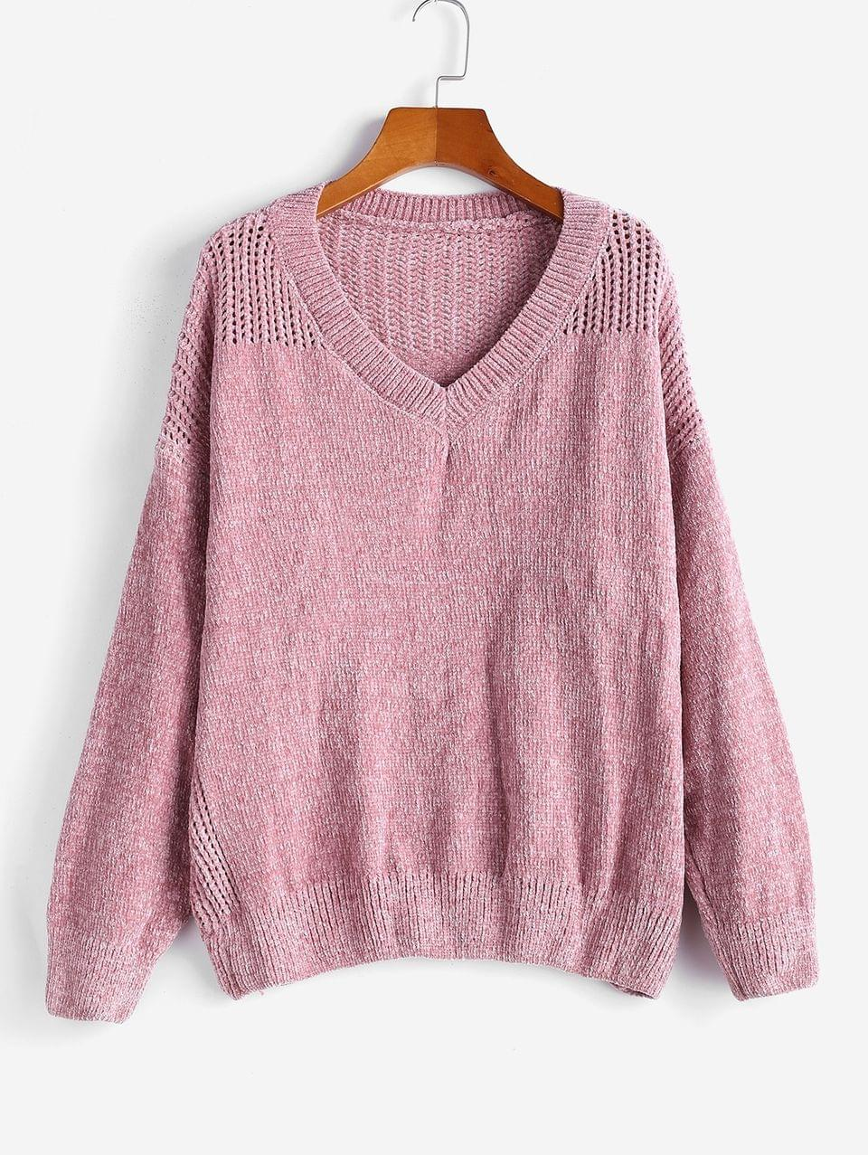 Women's V Neck Chenille Eyelet Jumper Sweater - Pink