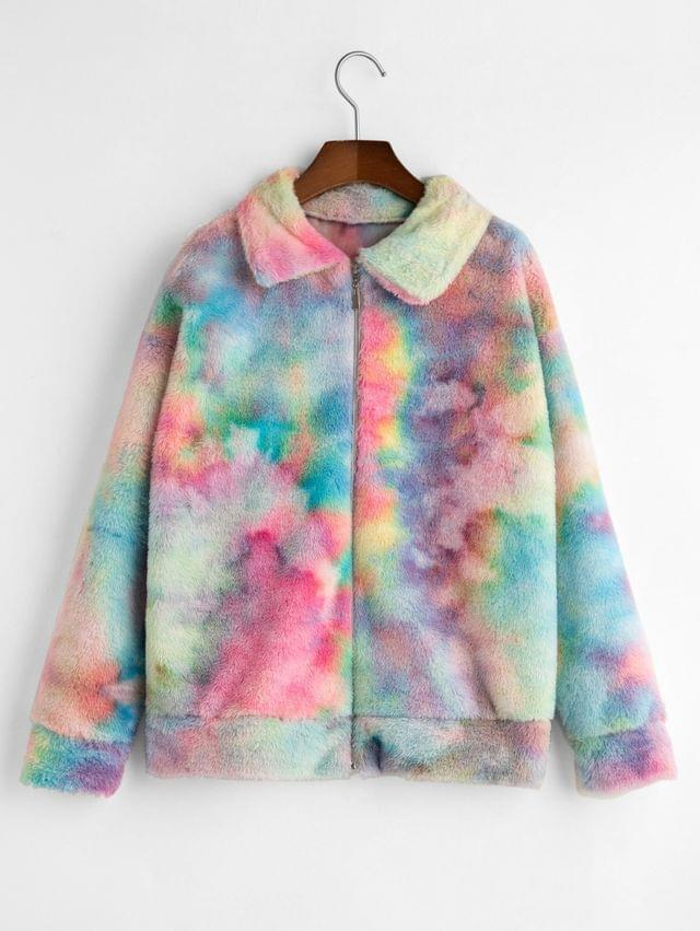 WOMEN Zip Front Tie Dye Faux Fur Fluffy Coat - Multi-a L