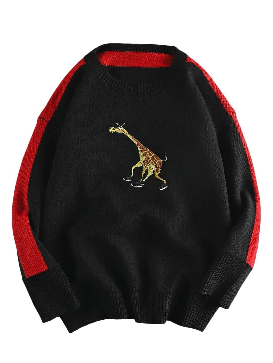 Men's Giraffe Embroidered Casual Pullover Sweater - Black 2xl