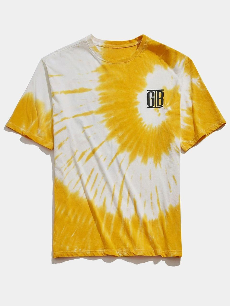 Men's Tie Dye Gesture Letters Print Casual T-shirt - Goldenrod S