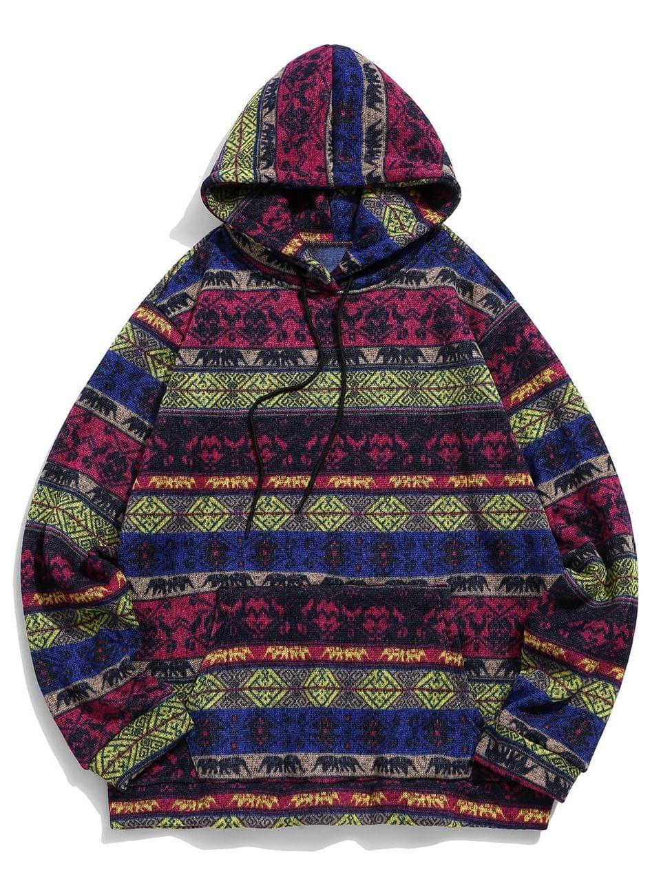 Men's Tribal Print Kangaroo Pocket Hoodie - Plum Xl