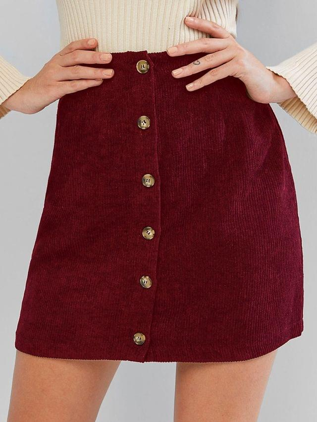 WOMEN Corduroy Button Fly High Rise Skirt - Red Wine M