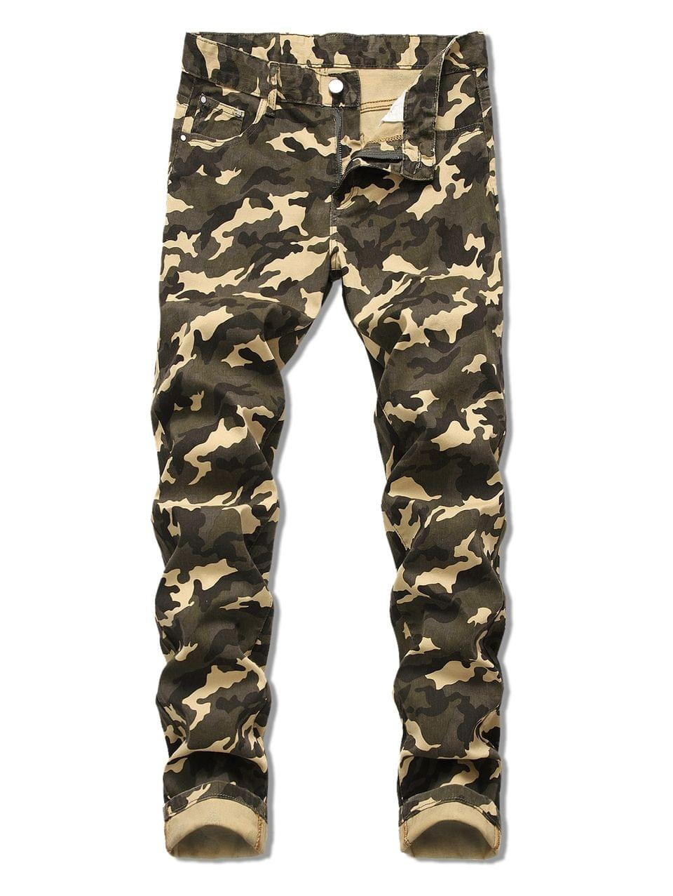 Men's Camo Pattern Zip Fly Casual Cuffed Jeans - Army Green 34