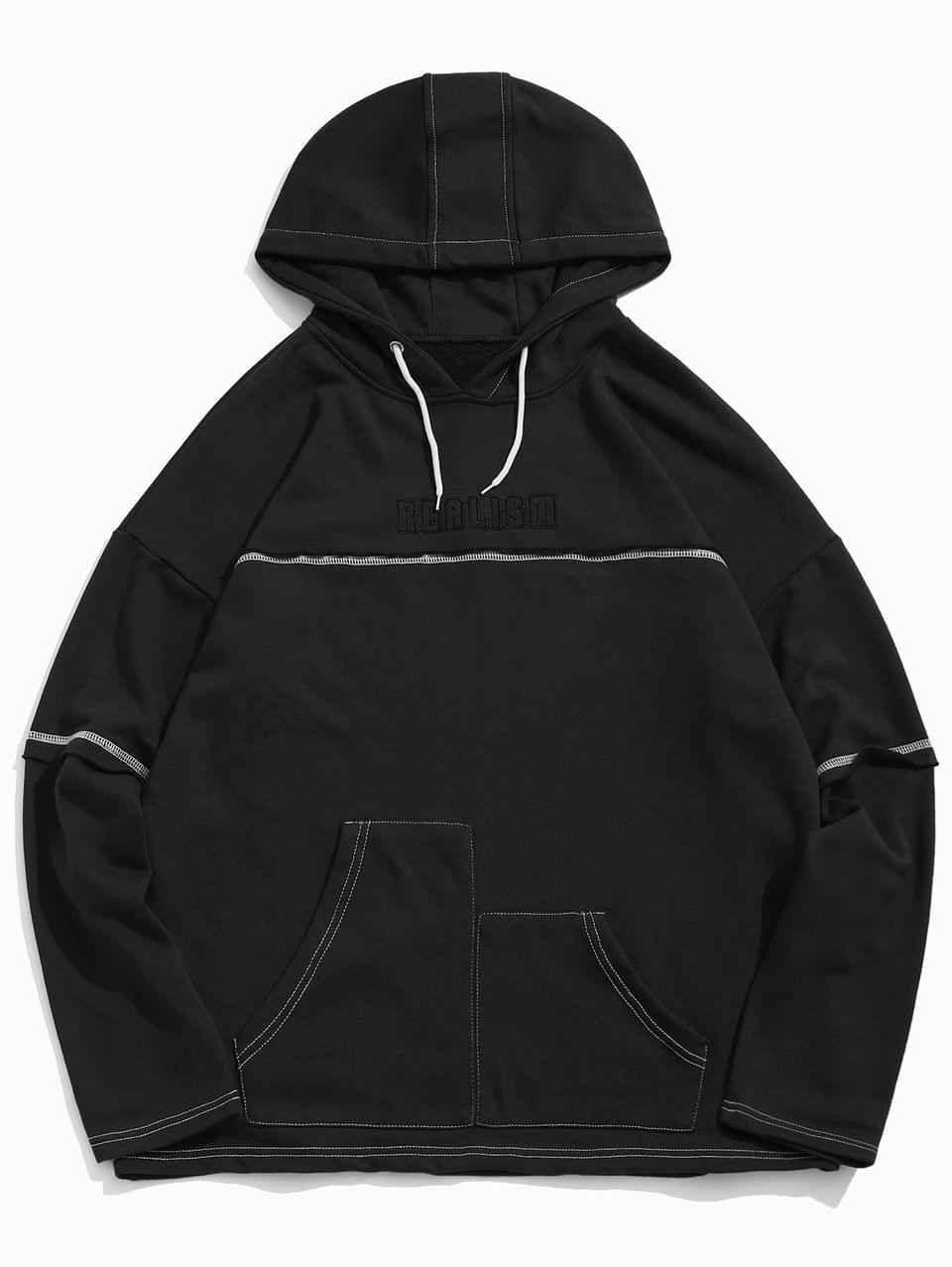 Men's Realism Graphic Creative Pocket Drop Shoulder Hoodie - Black Xl