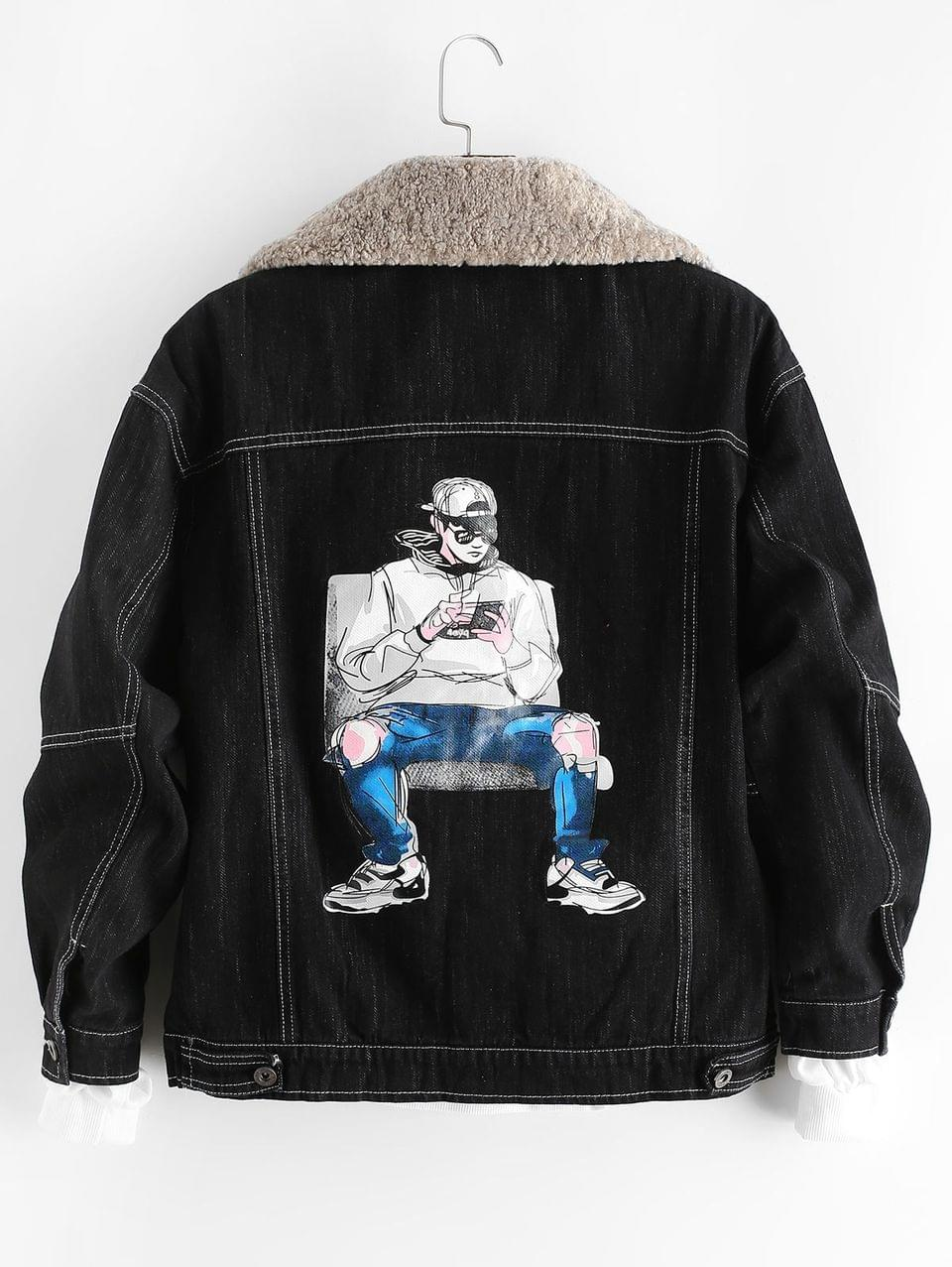 Men's Cool Men Character Letter Print Scratch Fleece Jean Jacket - Black L