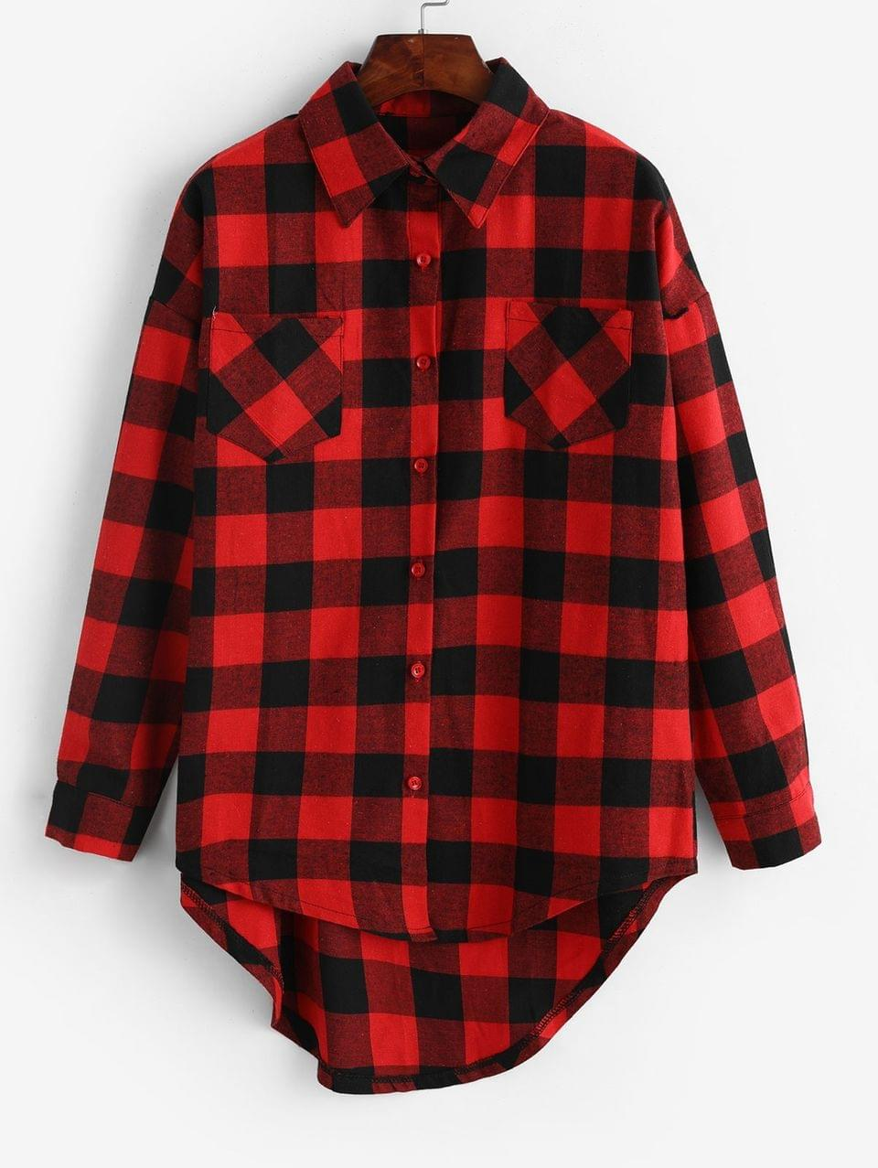 Women's Plaid Front Pocket Boyfriend Shirt - Red S