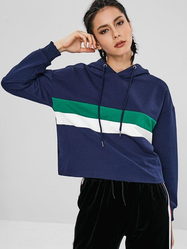 WOMEN Ribbed Cuffs Color Block Hoodie - Lapis Blue M