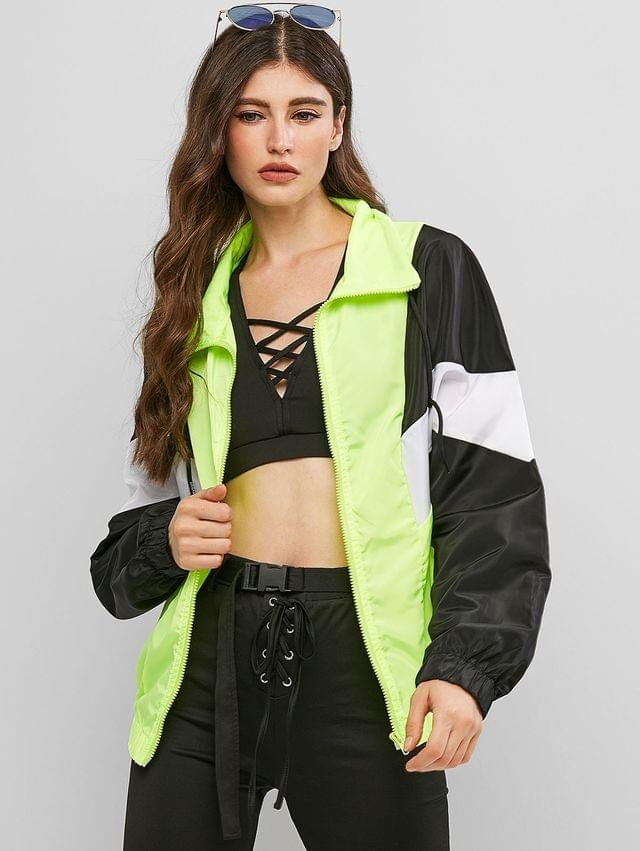 WOMEN Neon Color-blocking Zip Windbreaker Jacket - Multi-a M