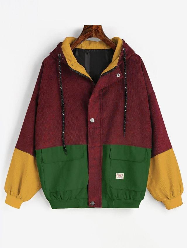 WOMEN Hooded Color Block Corduroy Jacket - Chestnut Red L