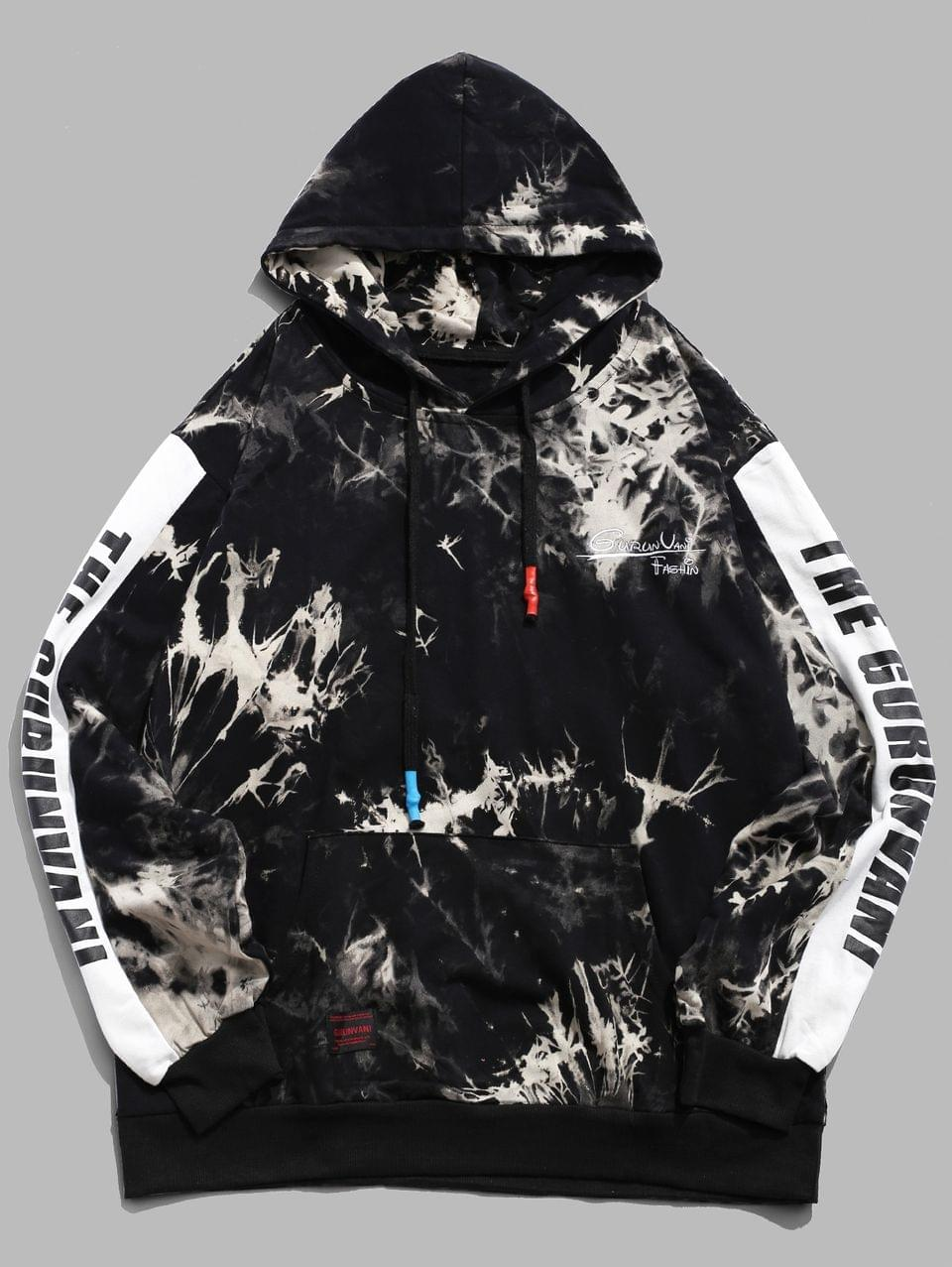 Men's Letter Print Color Blocking Splicing Tie Dye Hoodie - Black Xl