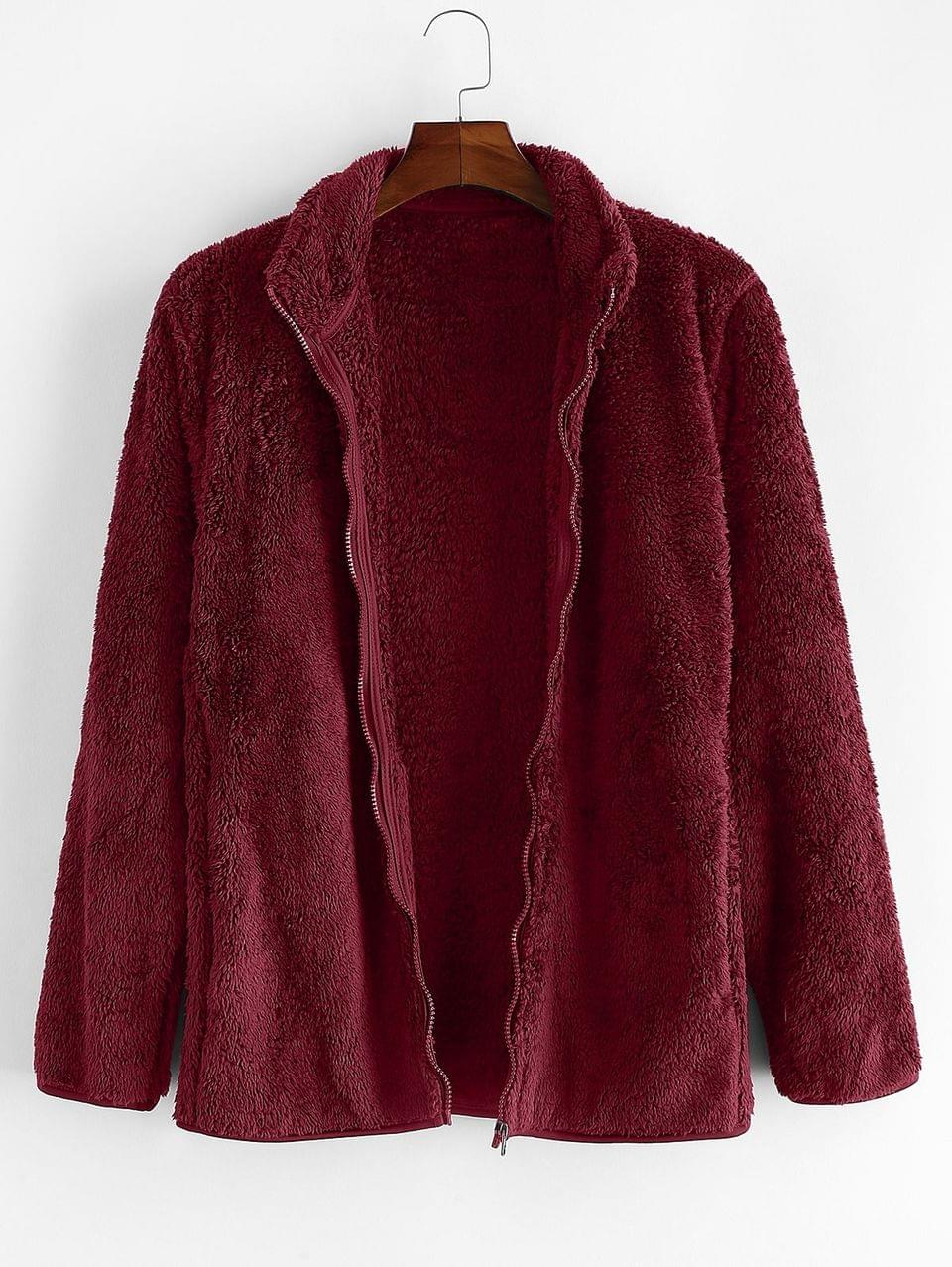 Men's Solid Faux Fur Fuzzy Zip Up Stand Collar Jacket - Firebrick L