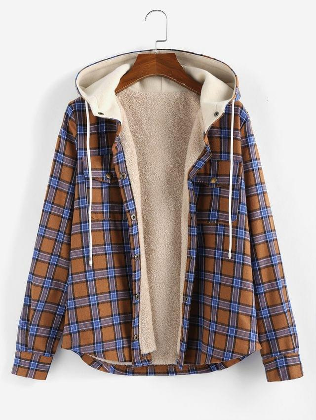 WOMEN Plaid Hooded Fluffy Lined Snap Button Jacket - Multi-a L
