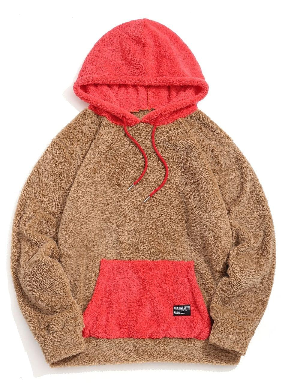 Men's Colorblock Kangaroo Pocket Fluffy Hoodie - Caramel 2xl