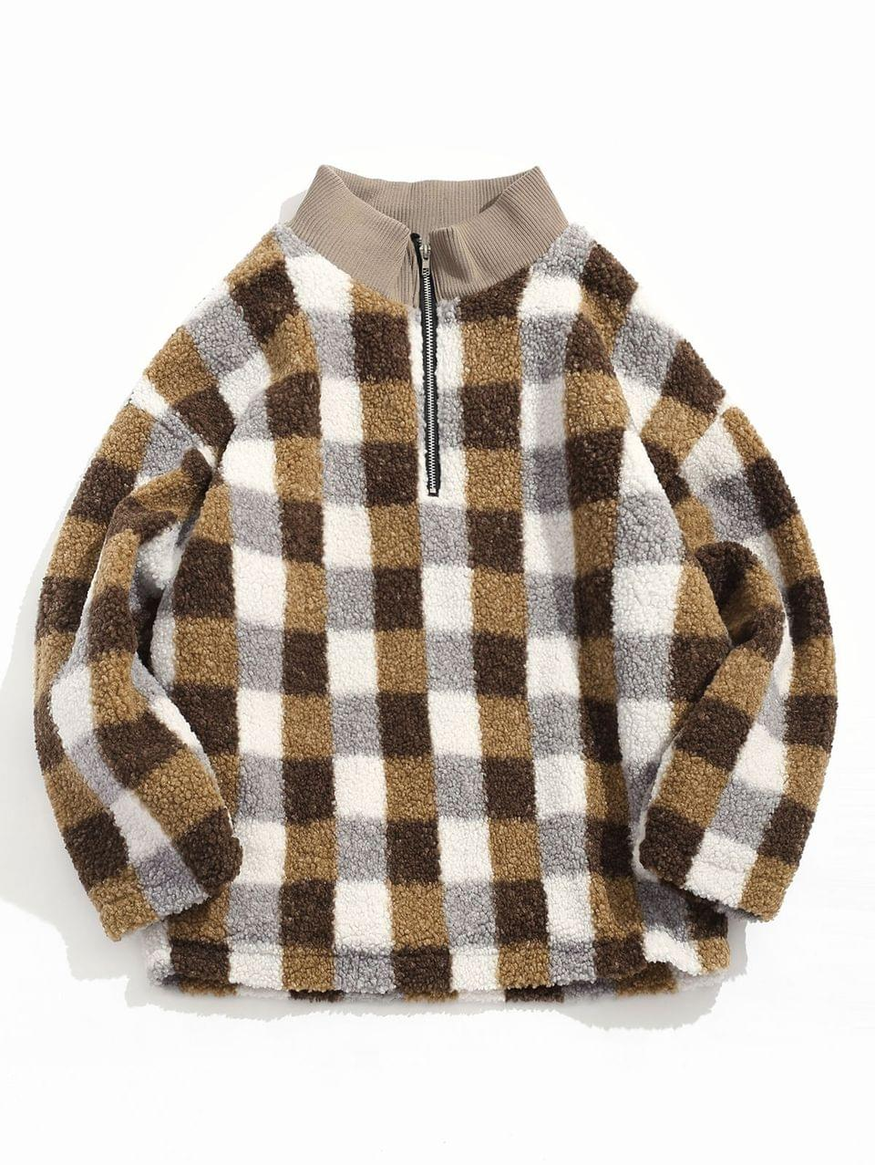 Men's Quarter Zipper Plaid Design Fluffy Jacket - Camel Brown M