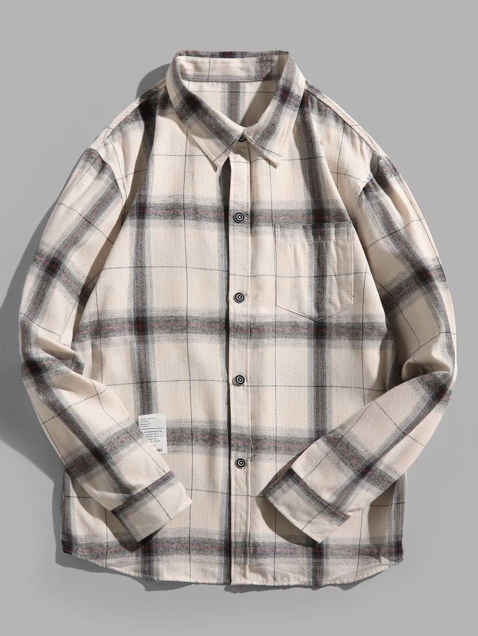 Men's Plaid Print Chest Pocket Long Sleeve Button Shirt - Crystal Cream 2xl