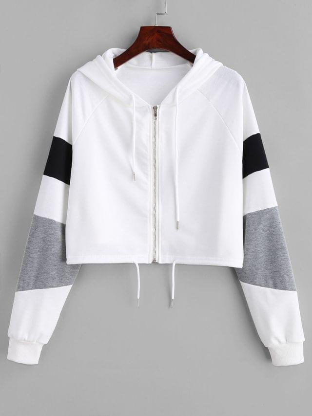 WOMEN Zipper Color Block Crop Hoodie - White M
