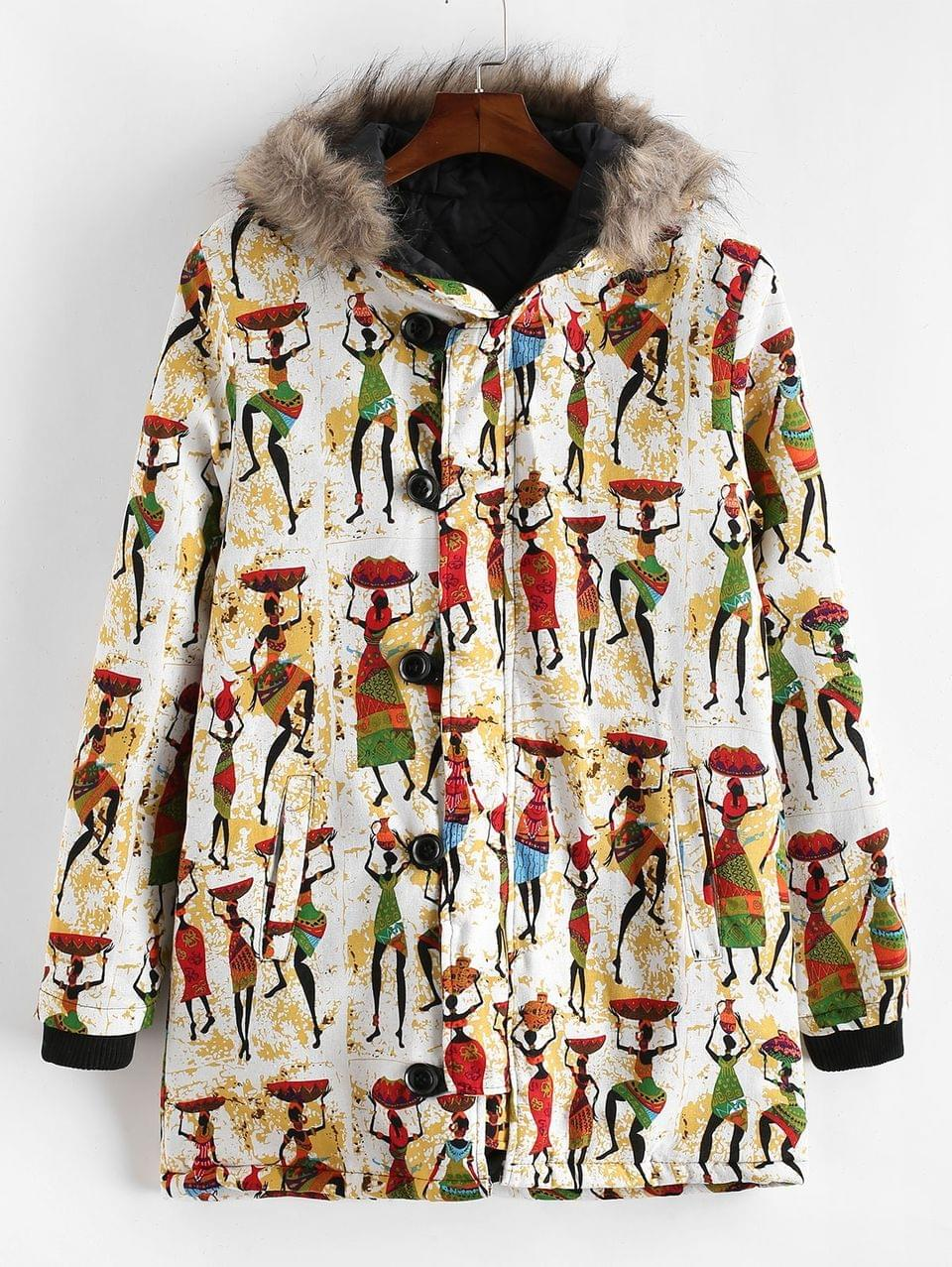 Men's Tribal Women Character Print Hood Long Padded Coat - Multi-b 3xl