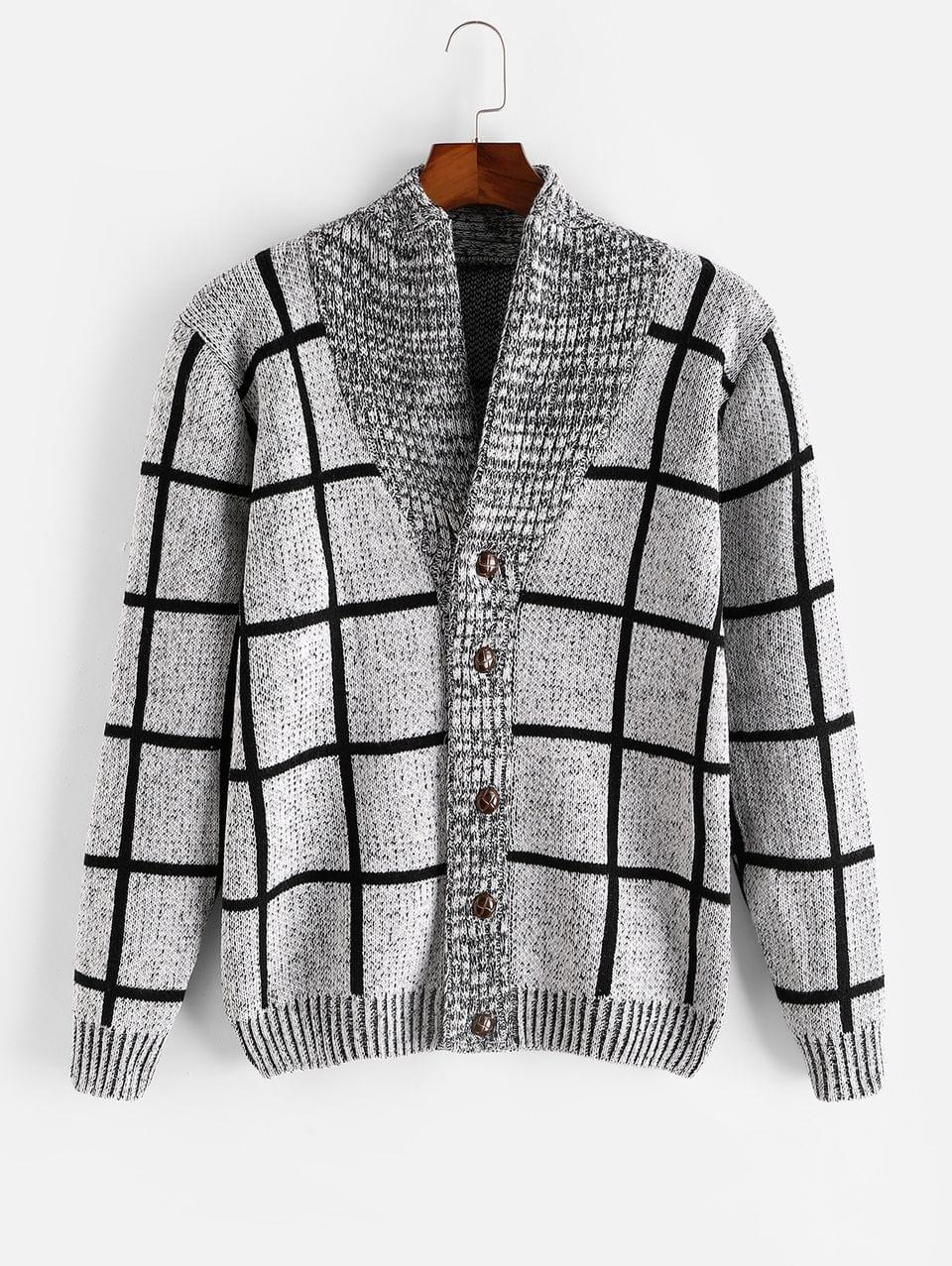 Men's Checkered Geometric Graphic Button Knitted Jacket - Gray Xs