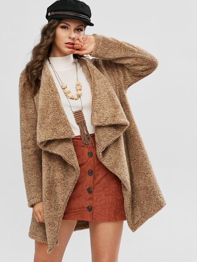 WOMEN Open Front Waterfall Fluffy Tunic Coat - Camel Brown M