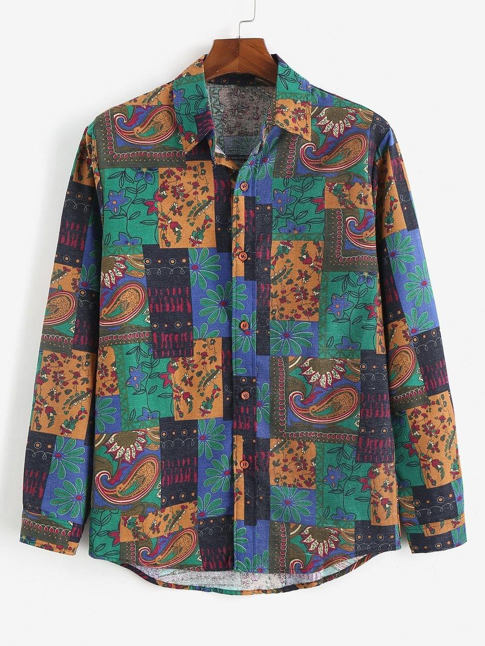 Men's Long Sleeve Button Up African Print Shirt - Sea Green M