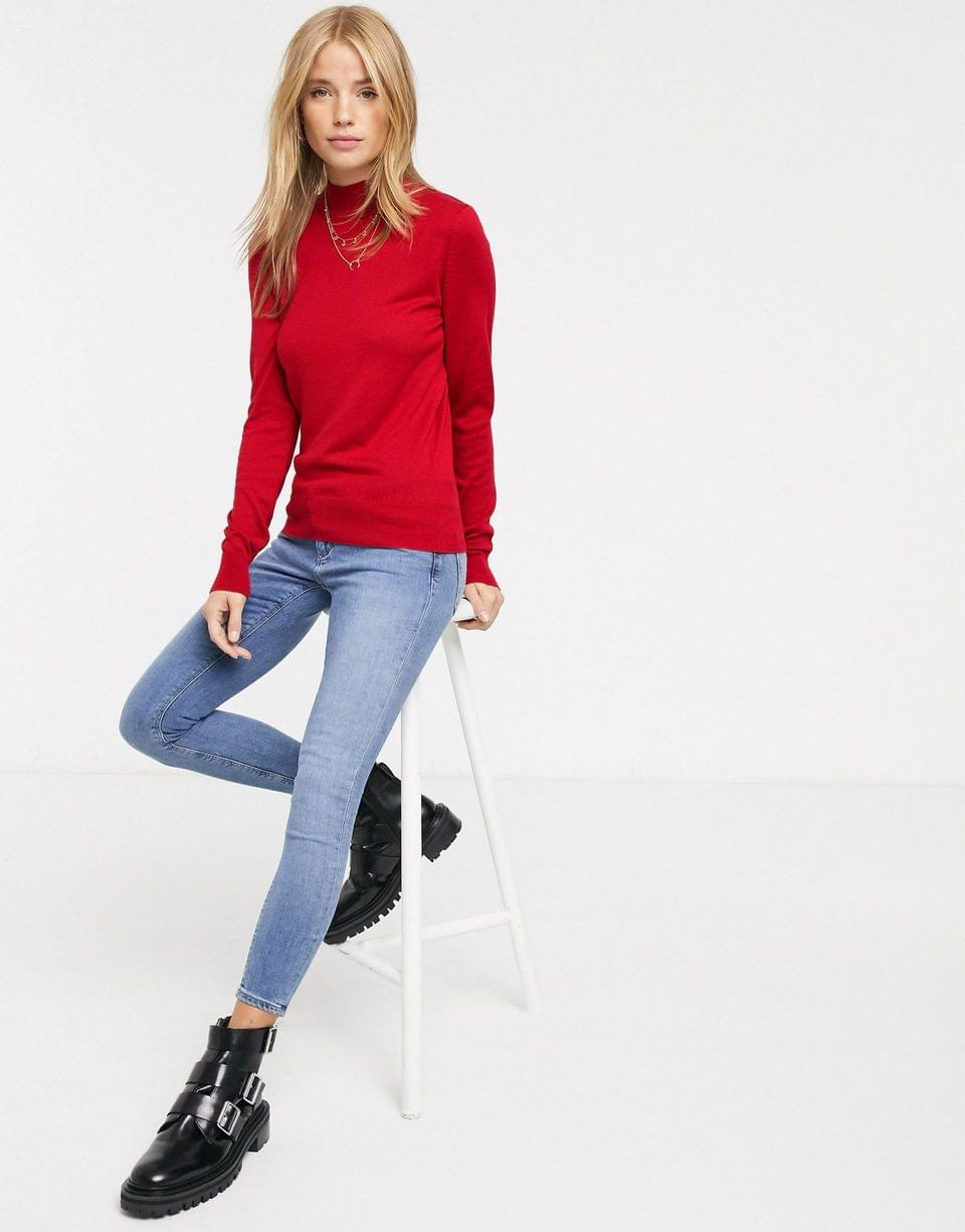 Women's New Look high neck fine guage knit sweater in red