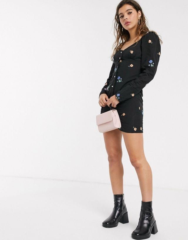 Women's button through mini dress in all over embroidery with pearl buttons
