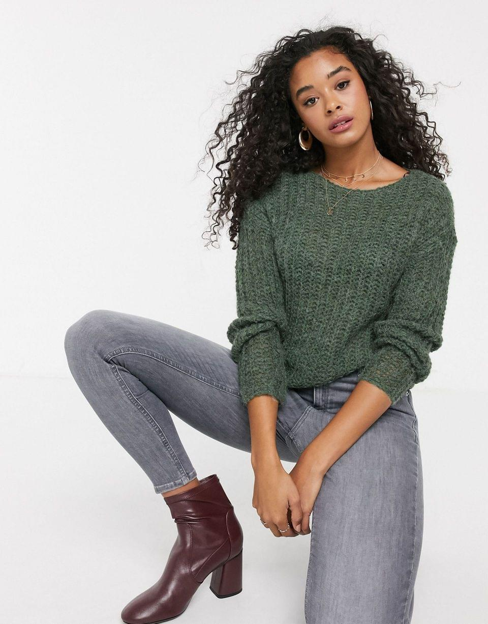 Women's JDY open knit sweater in green