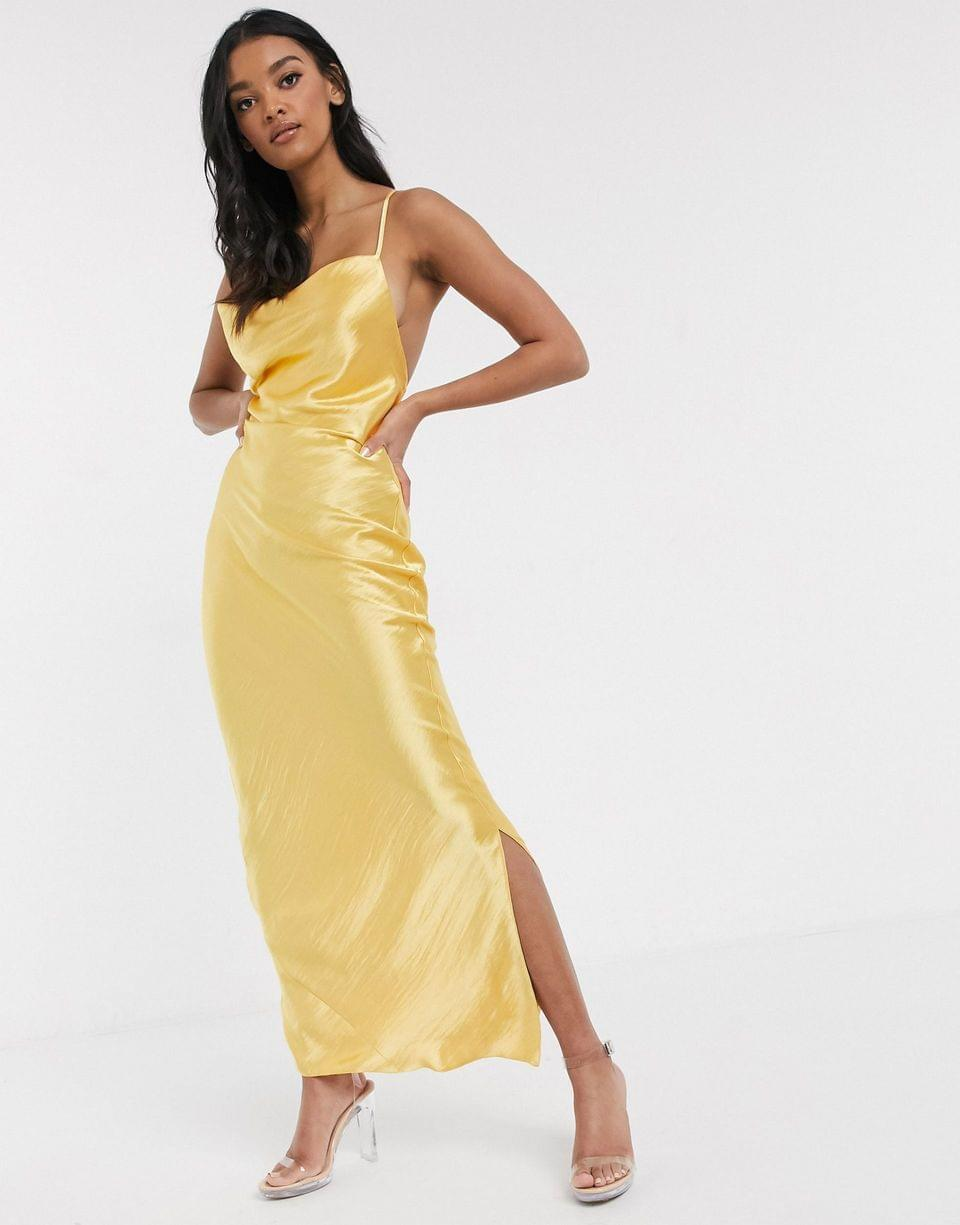 Women's cami maxi slip dress in high shine in satin with lace up back