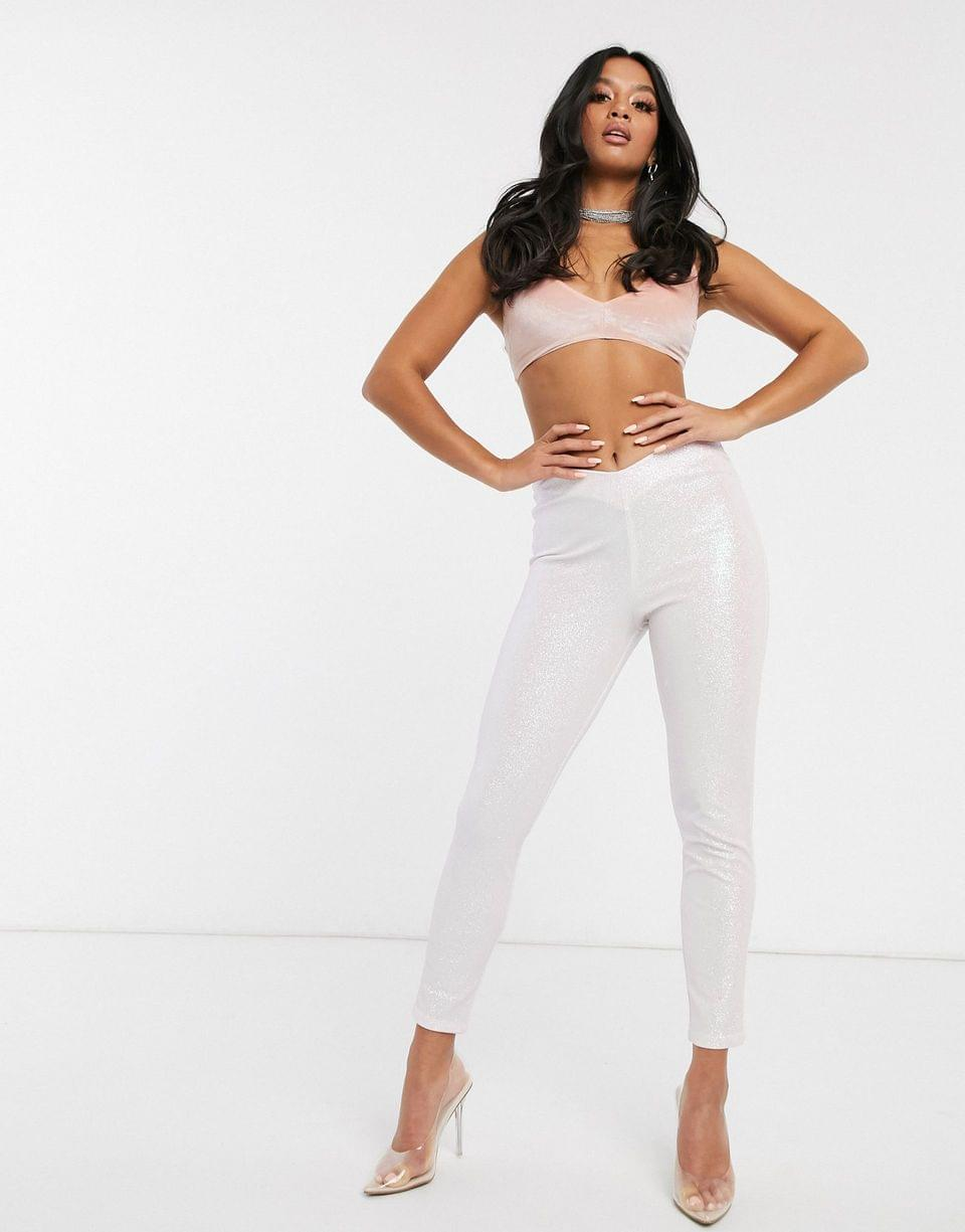 Women's Petite Rivington high waist jeggings with V front in glitter in pale pink