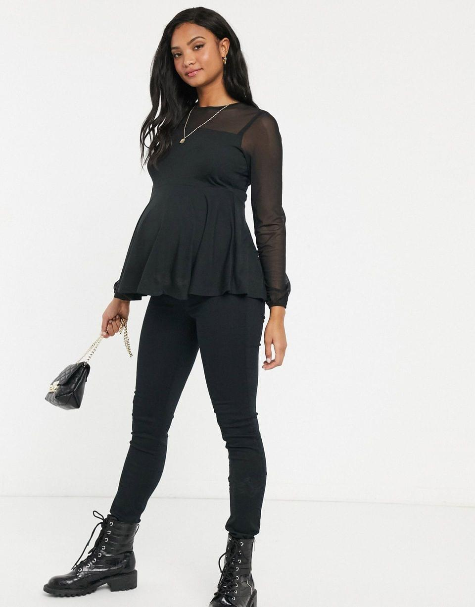 Women's Maternity nursing double layer mesh insert top with blouson sleeve