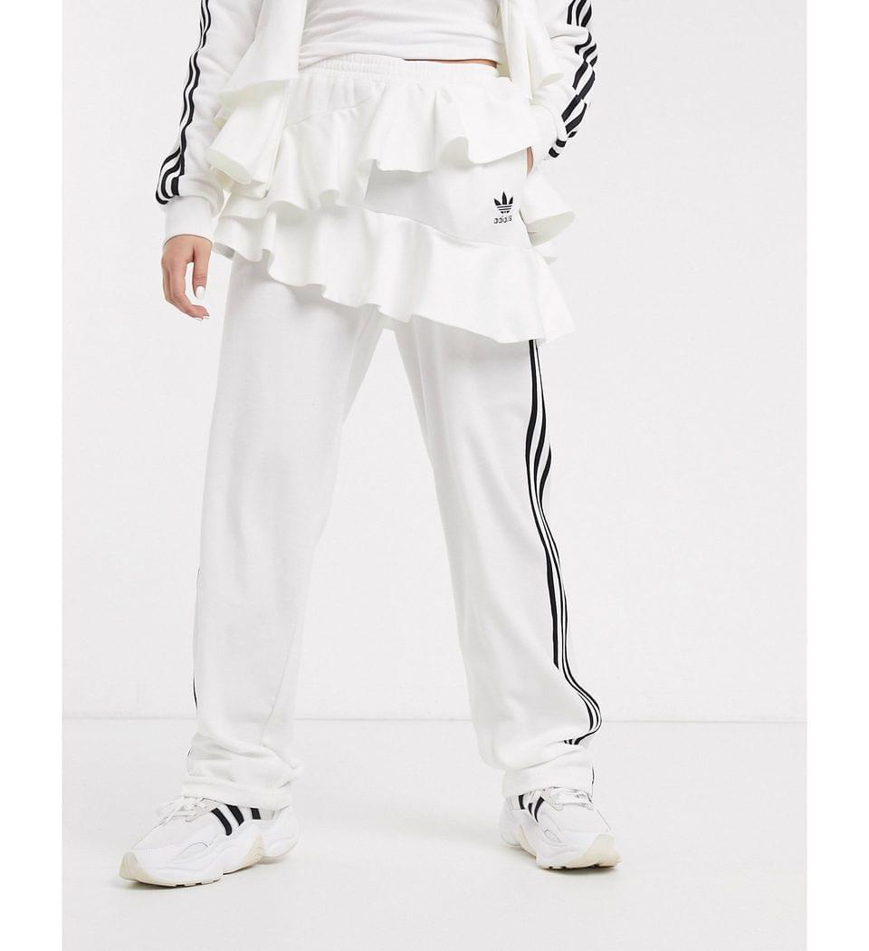 Women's adidas Originals x J KOO velour trefoil ruffle track pant in off white