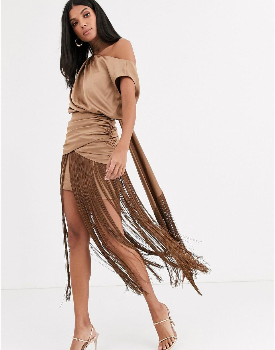 Women's Tall one shoulder fringe maxi dress with satin top