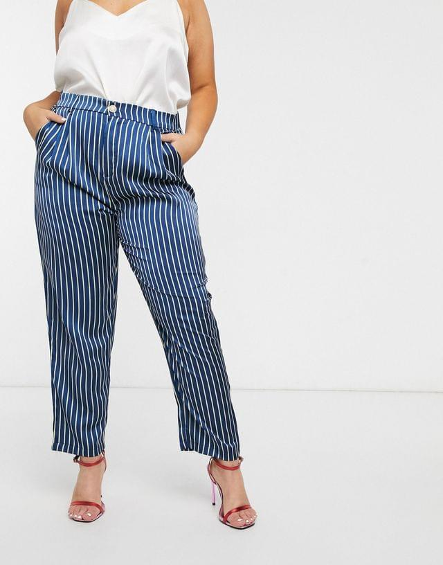 WOMEN In The Style x Laura Jade Plus satin stripe pants