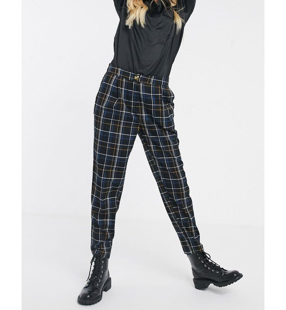 Women's New Look pull on pants in blue check