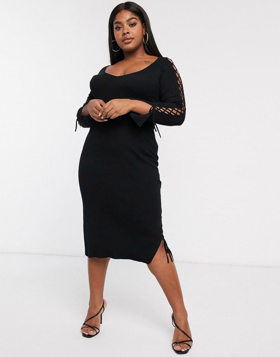 Women's Curve ribbed midi dress with v neck and lace up sleeve detail
