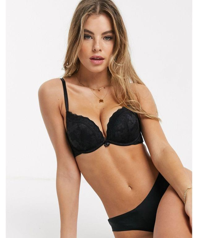 Women's New Look essential lace push up bra in black