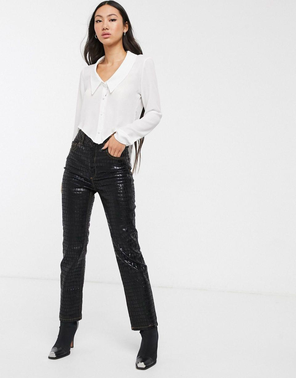 Women's Another Reason fitted 90s shirt with plunge and drop hem