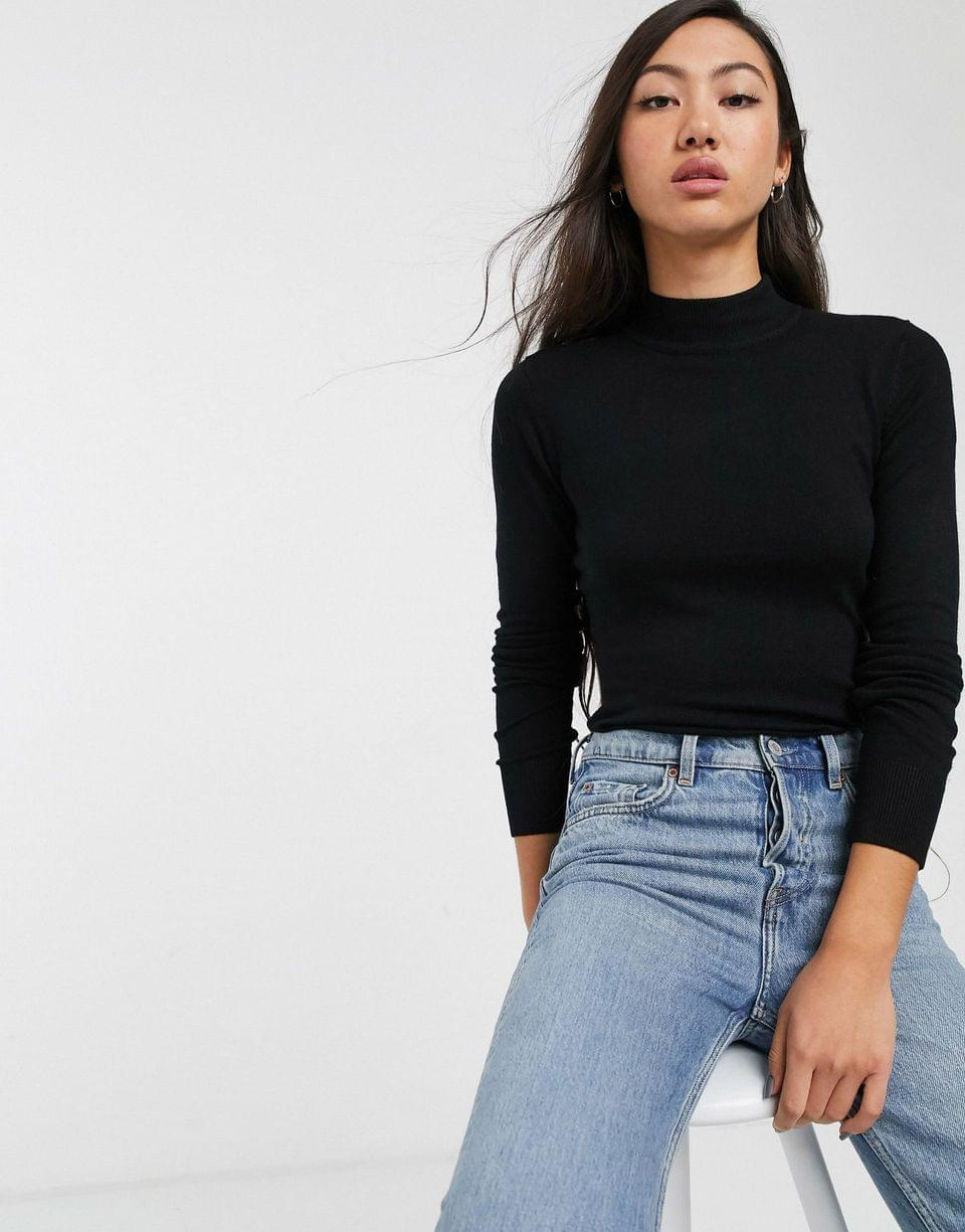 Women's Monki Ingrid long sleeved turtleneck top in black