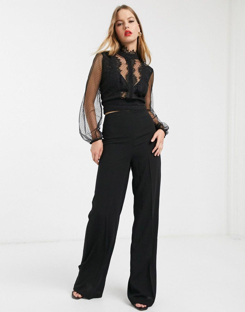 Women's River Island lace blouse with tie back in black