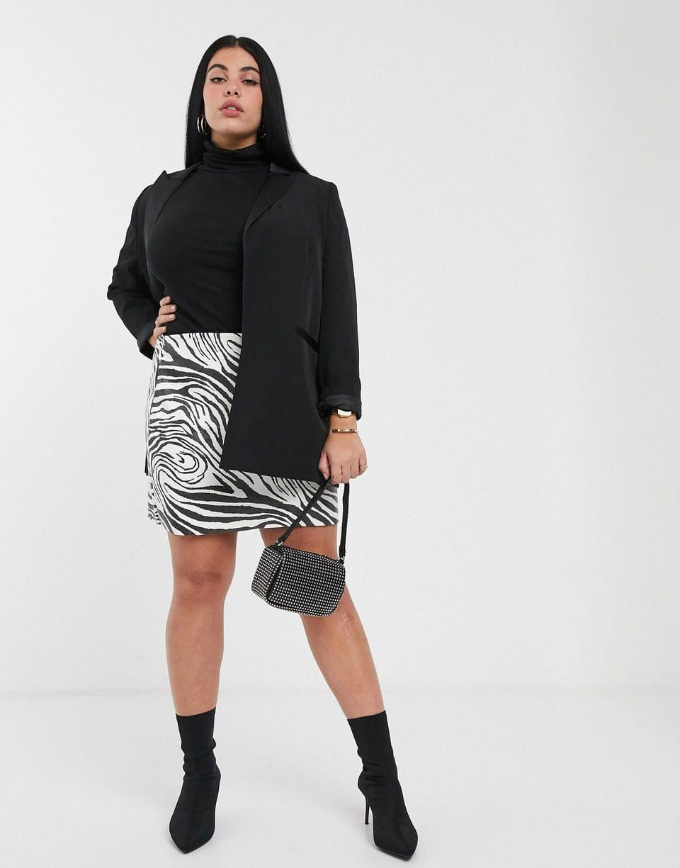 Women's Another Reason Plus faux leather mini skirt in zebra print