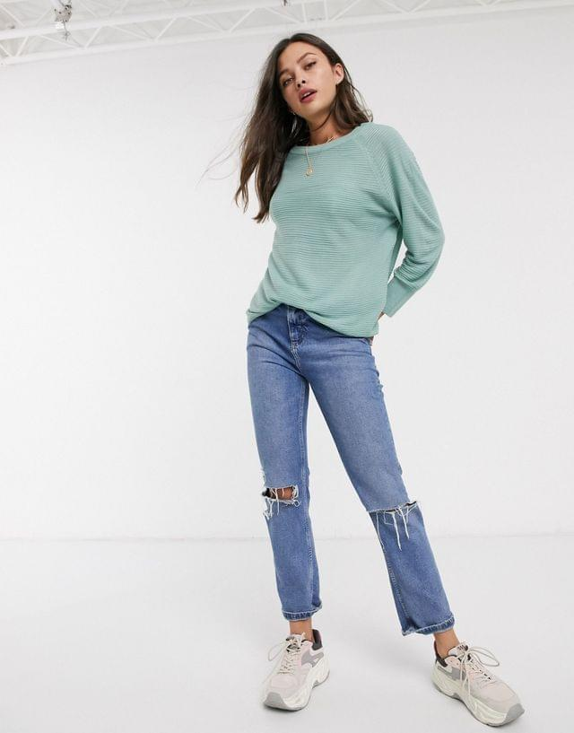 WOMEN JDY ribbed sweater with crew neck in blue