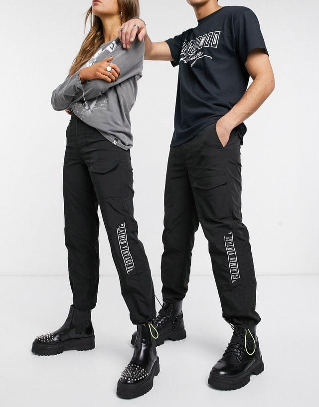 WOMEN Reclaimed Vintage inspired unisex utility pants with branded taping