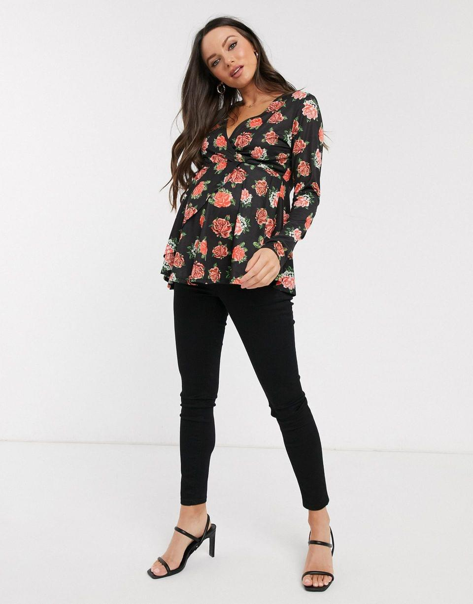 Women's Maternity exclusive long sleeve wrap top in rose print