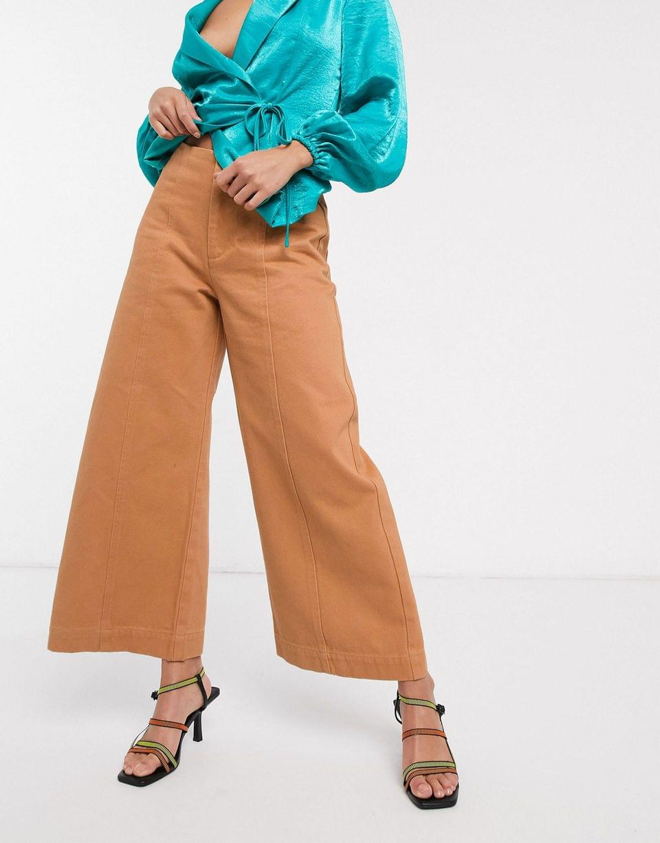 Women's Petite minimal cropped wide leg jeans with seam details