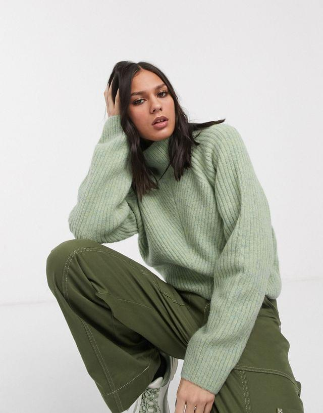 WOMEN Weekday Raquel roll neck ribbed sweater in light green melange